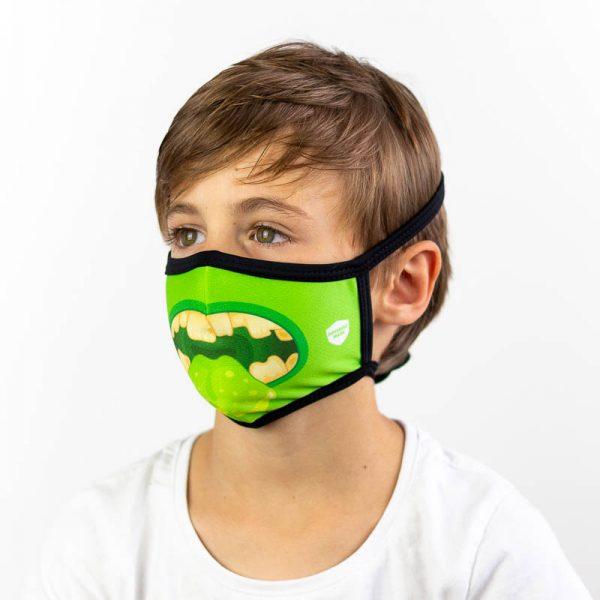 Mascarilla infantil boca verde