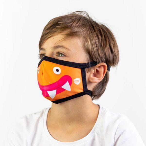 Mascarilla infantil monstruo naranja