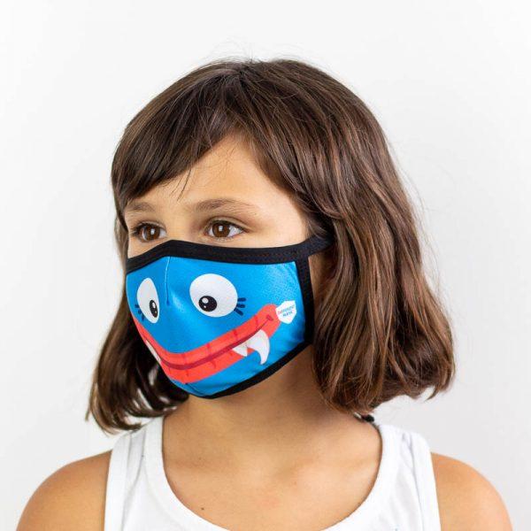 Mascarilla infantil monstruo boca azul