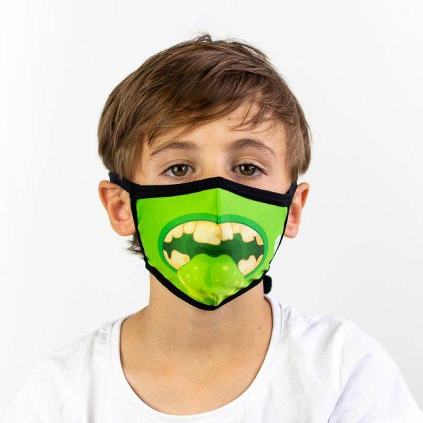 Mascarilla infantil monstruo verde
