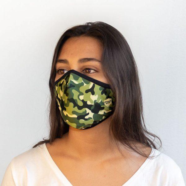 Mascarilla militar verde lateral