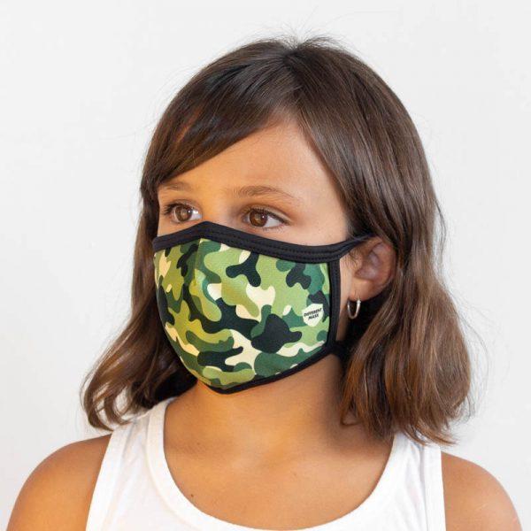 Mascarilla militar verde infantil lateral